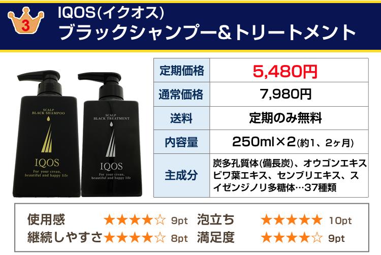 男性用育毛シャンプー第3位IQOS(イクオス)シャンプー